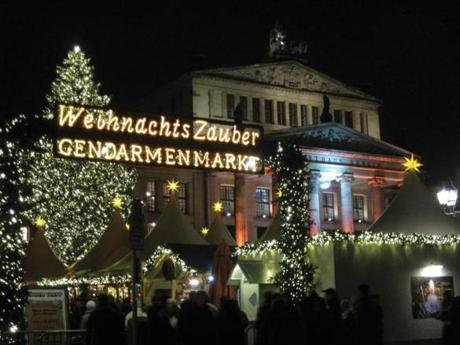 Berlin has more than 60 Christmas Markets, this one in the city's famous Gendarmenmarkt square. Land tours and river tours throughout Europe find many such traditional markets.